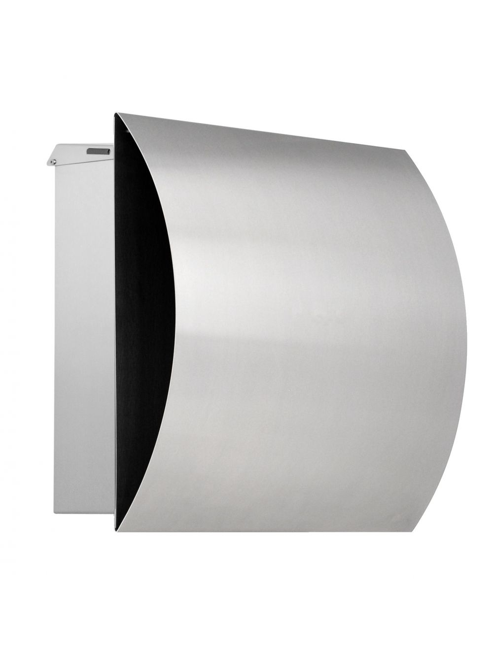 Knobloch Vegas Locking Surface Mount Mailbox with Curved Front and Integrated Newspaper Holder in Brushed Stainless Steel
