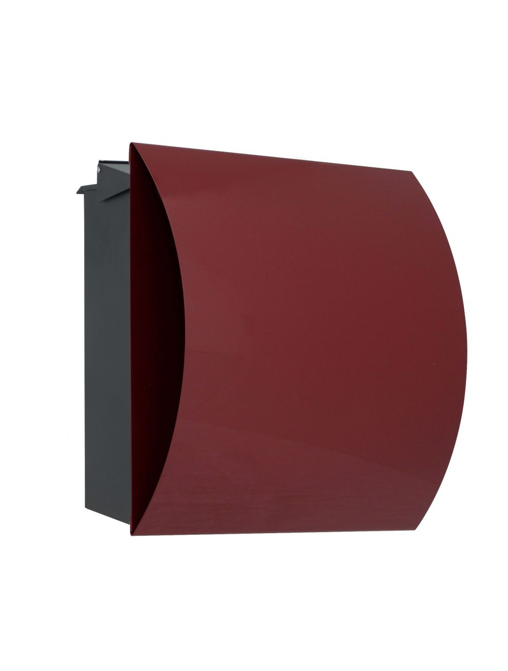 Knobloch Vegas Locking Fence Mount Mailbox with Curved Front and Integrated Newspaper Holder in Wine Red
