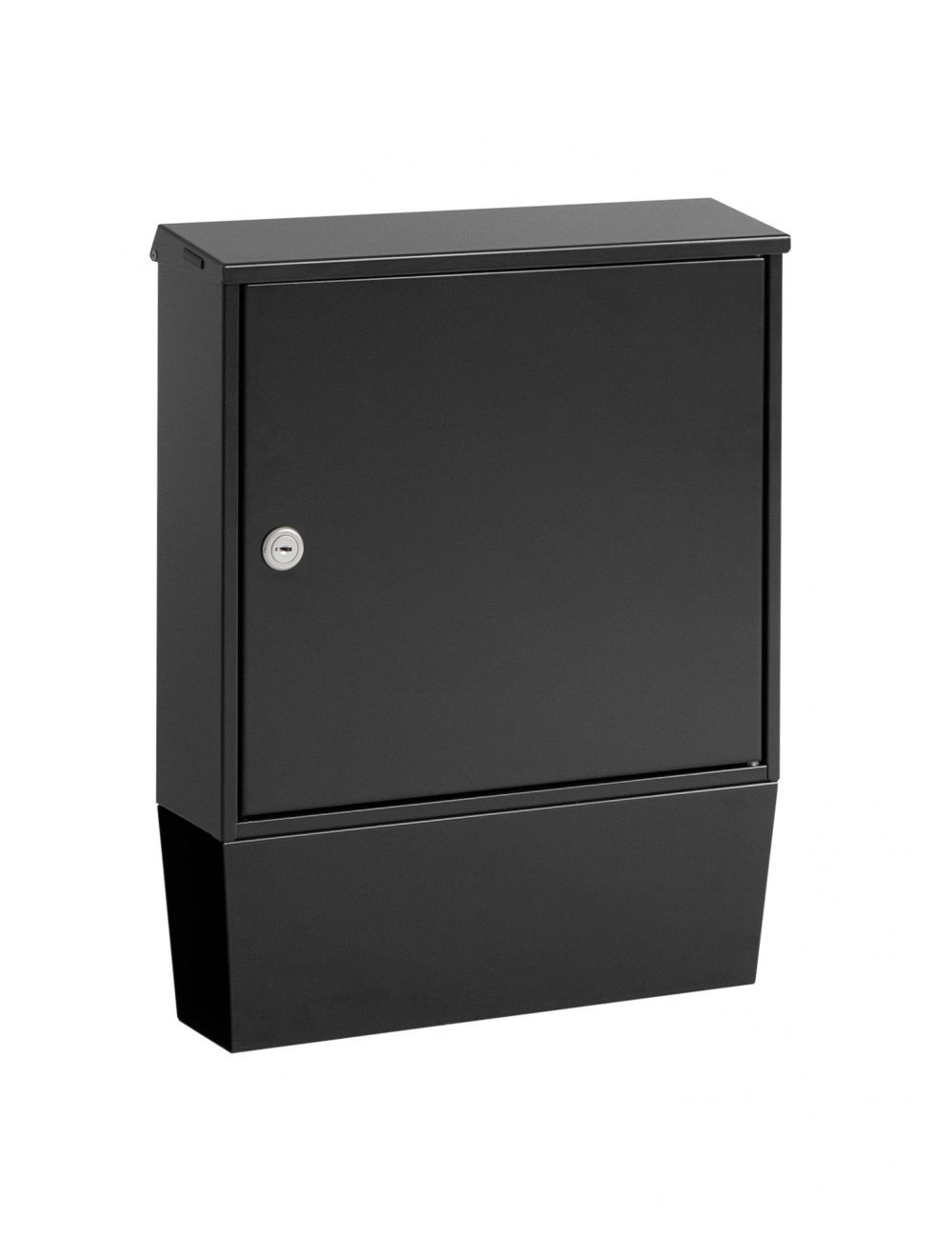 Knobloch Portland Locking Surface Mount Mailbox with Integrated Newspaper Holder in Deep Black