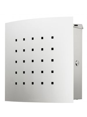 Knobloch Phoenix Locking Surface Mount Mailbox with Curved Front and Perforation in Brushed Stainless Steel