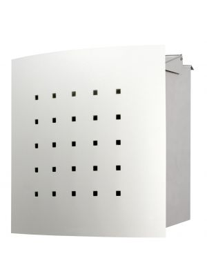 Knobloch Phoenix Locking Fence Mount Mailbox with Curved Front and Perforation in Stainless Steel / White