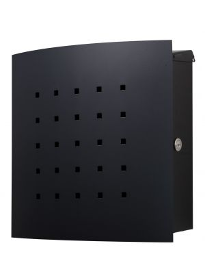 Knobloch Phoenix Locking Surface Mount Mailbox with Curved Front and Perforation in Graphite Black (Matte)