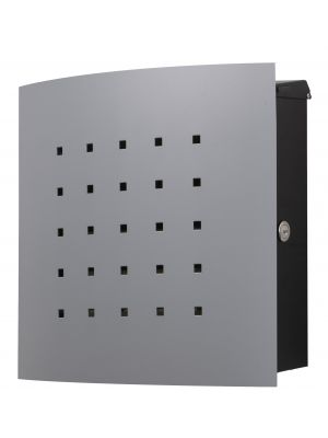 Knobloch Phoenix Locking Surface Mount Mailbox with Curved Front and Perforation in Silver