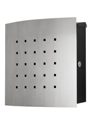 Knobloch Phoenix Locking Surface Mount Mailbox with Curved Front and Perforation in Brushed Stainless Steel / Black
