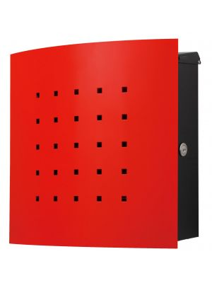 Knobloch Phoenix Locking Surface Mount Mailbox with Curved Front and Perforation in Traffic Red