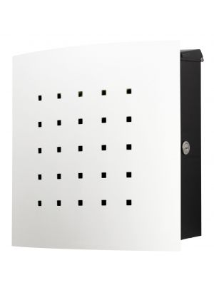 Knobloch Phoenix Locking Surface Mount Mailbox with Curved Front and Perforation in Pure White