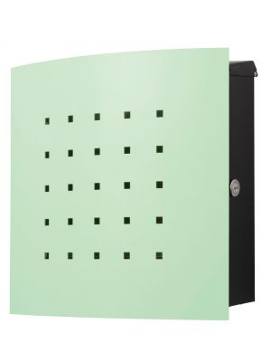 Knobloch Phoenix Locking Surface Mount Mailbox with Curved Front and Perforation in Pastel Green
