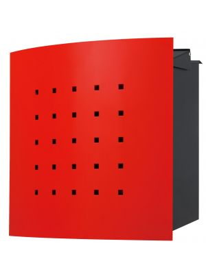 Knobloch Phoenix Locking Fence Mount Mailbox with Curved Front and Perforation in Traffic Red