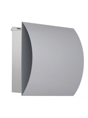 Knobloch Vegas Locking Surface Mount Mailbox with Curved Front and Integrated Newspaper Holder in Stainless Steel / Silver