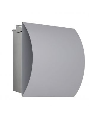 Knobloch Vegas Locking Fence Mount Mailbox with Curved Front and Integrated Newspaper Holder in Stainless Steel / Silver