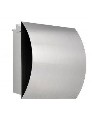 Knobloch Vegas Locking Fence Mount Mailbox with Curved Front and Integrated Newspaper Holder in Brushed Stainless Steel