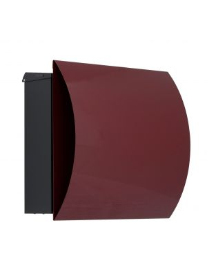 Knobloch Vegas Locking Surface Mount Mailbox with Curved Front and Integrated Newspaper Holder in Wine Red