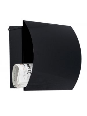 Knobloch Vegas Locking Surface Mount Mailbox with Curved Front and Integrated Newspaper Holder in Deep Black