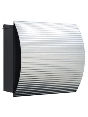 Knobloch Vegas Locking Surface Mount Mailbox with Curved Front and Integrated Newspaper Holder in Corrugated Aluminum