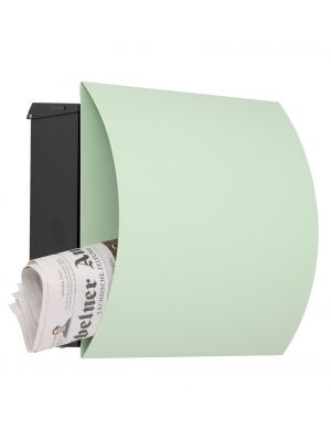 Knobloch Vegas Locking Surface Mount Mailbox with Curved Front and Integrated Newspaper Holder in Pastel Green