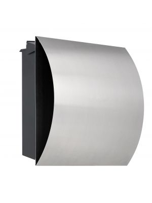 Knobloch Vegas Locking Fence Mount Mailbox with Curved Front and Integrated Newspaper Holder in Stainless Steel / Black