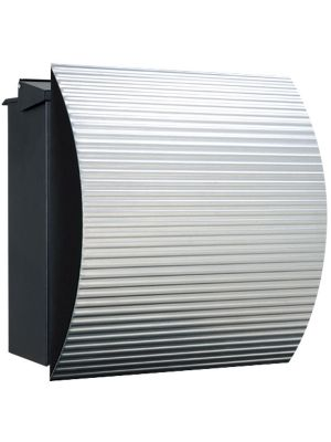 Knobloch Vegas Locking Fence Mount Mailbox with Curved Front and Integrated Newspaper Holder in Corrugated Aluminum