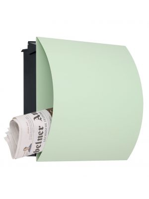 Knobloch Vegas Locking Fence Mount Mailbox with Curved Front and Integrated Newspaper Holder in Pastel Green