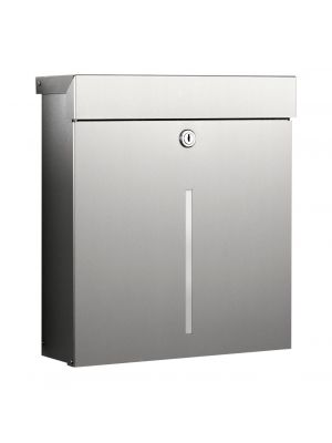 Knobloch Mailbox X with Viewing Slot Locking Surface Mount Mailbox in Brushed Stainless Steel