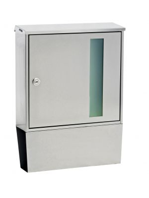 Knobloch Portland Design D Locking Surface Mount Mailbox with Integrated Newspaper Holder in Stainless Steel / Ice Green