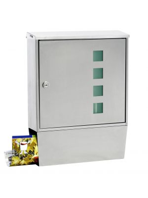 Knobloch Portland Design E Locking Surface Mount Mailbox with Integrated Newspaper Holder in Stainless Steel / Ice Green