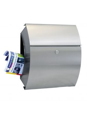 Knobloch Santa Fe Curved Locking Surface Mount Mailbox with Integrated Newspaper Holder in Stainless Steel