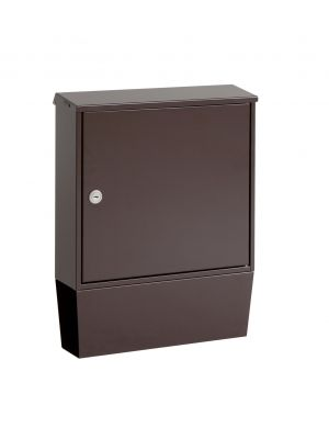 Knobloch Portland Locking Surface Mount Mailbox with Integrated Newspaper Holder in Chocolate Brown